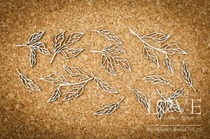 Chipboard - Peony leaves - Coral, Navy Romance