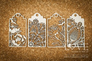 Chipboard - Small tags - Coral, Navy Romance