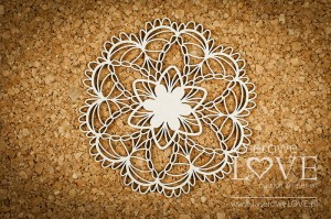 Chipboard - Small rosette - Coral, Navy Romance