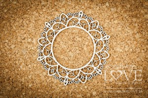 .Chipboard - Lace round frame - Coral, Navy Romance