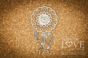 Chipboard - Dream catcher with a peony -  Coral, Navy Romance
