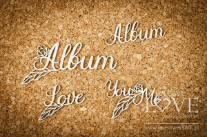 .Chipboard - Inscriptions: Album, Love You and Me - Coral, Navy Romance
