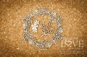 Chipboard - Wreath with leaves - Coral, Navy Romance