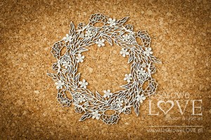 Chipboard - Big wreath with leaves - Coral, Navy Romance