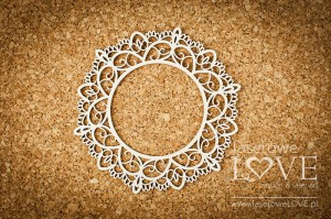 Chipboard - Round lace frame - Coral, Navy Romance