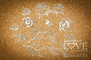 Chipboard - Big leaves and flowers of peony - Coral, Navy Romance