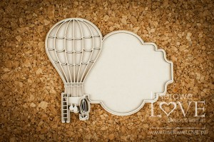 Chipboard - Frame with a balloon - Vintage Gentleman