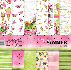 Set of papers - Watermelon Summer- 30,5 cm x 30,5 cm - Laserowe LOVE