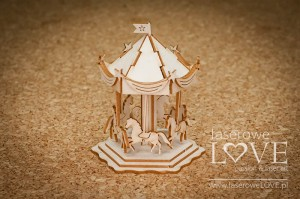 Chipboard - Carousel with horses 3D -  Baby Boom