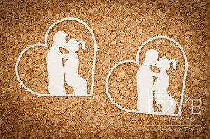Chipboard - Couple in a heart -  Baby Boom