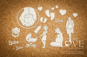 Chipboard - Women in pregnant with accessories for the baby -  Baby Boom