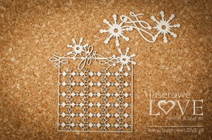 Chipboard - Rectangular frame among stars - Vintage Christmas