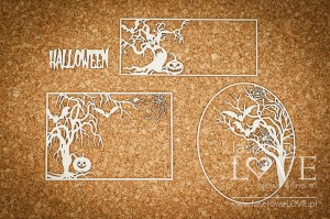 Chipboard - Frame with trees and pumpkins - Halloween Time