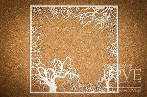 Chipboard - Big frame with trees and spider webs - Halloween Time