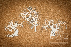 Chipboard - Scary trees with faces - Halloween Time