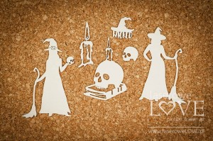 Chipboard - Witch with a skull - Halloween Time