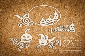 Chipboard - Frame and ornaments with pumpkins - Halloween Time