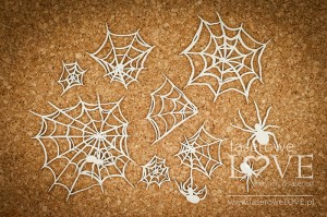 Chipboard - Spider web and spiders - Halloween Time
