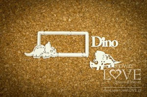 Chipboard - Frame with a Triceratops - Dino Land
