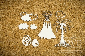 Chipboard - Volcano and a palm - Dino Land