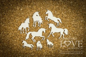 Chipboard - Unicorns, set - Rainbow Unicorn