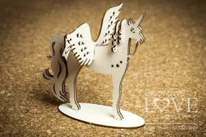 Chipboard - A unicorn with wings, 3D - Rainbow Unicorn