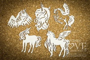 Chipboard - Unicorns, set no. 2 - Rainbow Unicorn