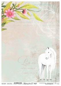Rice paper for decoupage - A4  - Mysterious Unicorn - 07 - Lexi Design