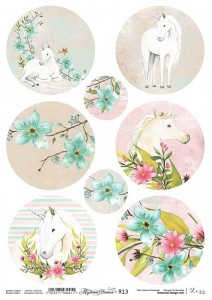 Rice paper for decoupage - A4  - Mysterious Unicorn -13- Lexi Design