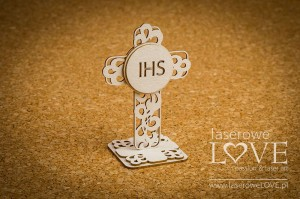 Chipboard - Openwork cross, 3D - Holy & White