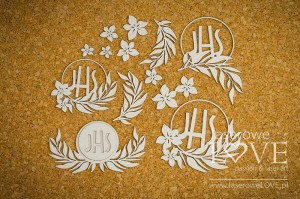 Chipboard - Hosts with flowers - Holy & White