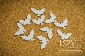 Chipboard - Pigeons, 10 items - Holy & White