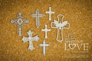 Chipboard - Crosses - Holy & White