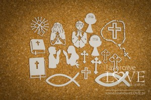 Chipboard - First Communion , symbols - Holy & White