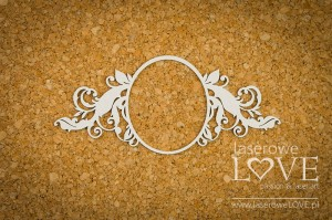 Chipboard - Big oval frame - Holy & White