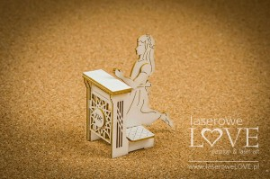 Chipboard -  Girl on a kneeler, 3D - Holy & White