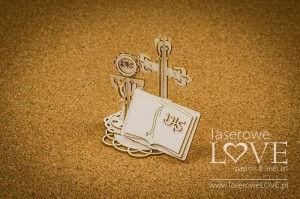 Chipboard -  Book under the cross, 3D - Holy & White