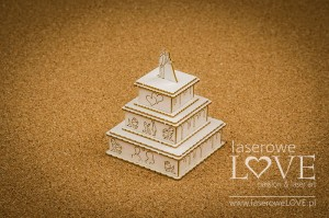 Chipboard -  Wedding cake, 3D - Holy & White