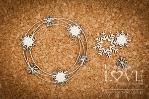 Chipboard - Frame ljana with snowflakes - Arctic Sweeties