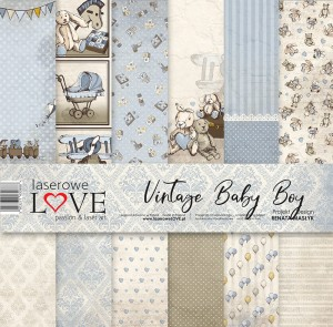 Set of papers - Vintage Baby Boy  - 30,5 cm x 30,5 cm - Laserowe LOVE