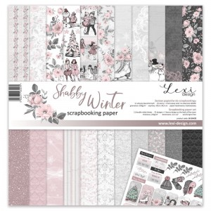Set of papers 30x30 cm  - Shabby Winter - Lexi Design