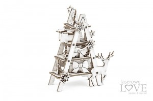 Chipboard - Ladder with ornaments, 3D - Christmas in town