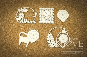 Chipboard - Frames with lions - Little Safari