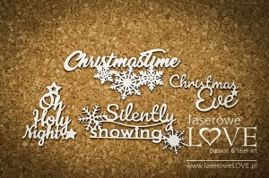 Tekturka - Napisy Silently snowing- Cinnamon Christmas