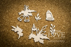 Chipboard - Decorative elements with bells and a candle - Cinnamon Christmas