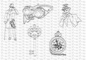 Men - Steam Time - Steampunk coloring digi stamps