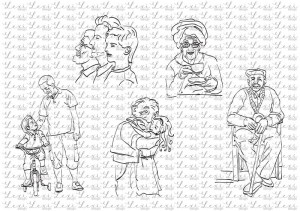 Grandma and grandpa - Beautiful Moments - coloring digi stamps