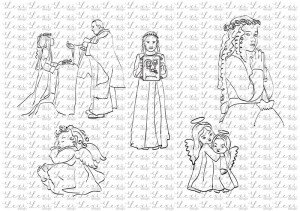 Girl - First Holy Communion - Beautiful Moments- coloring digi stamps