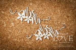 .Chipboard - Mrs Mr inscription - Flower (1)