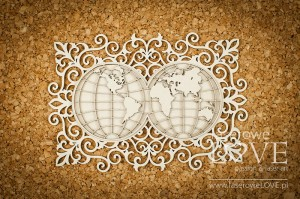 Chipboard - Map within ornaments - Vintage Trip